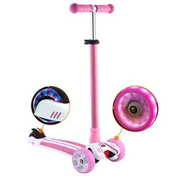dtemple Scooter for Kids, Kick Scooter With LED Light Up Adj