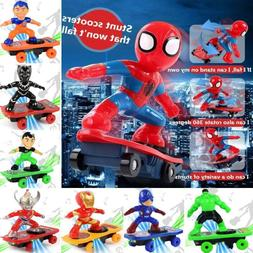 Scooter Electric Car Stunt Toys SpiderMan Black Panther Iron